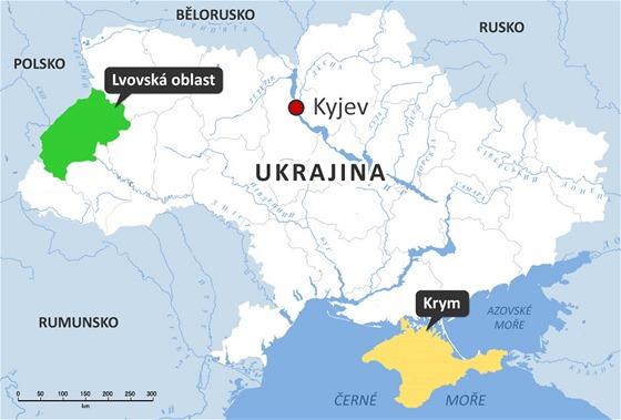 Ukrajinské regiony Krym a Lvovská oblast