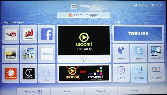 """""""Smart"""" menu televizoru s aplikacemi."""