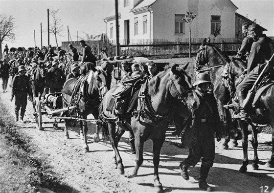 Jednotky 45. pěší divize byly složeny z příslušníků bývalé rakouské armády, na podzim 1938 byly vybaveny ještě z části původní rakouskou výzbrojí a výstrojí (přilby, malá polní apod). Snímek byl pořízen při obsazování Sudet v říjnu 1938.