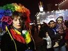 Italská bojovnice za práva homosexuálů Vladimir Luxuria v Soči. (17. února 2014)