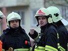 Porada požárníků. Úterní únik plynu v centru Vyškova (11. února 2013. Hasiči...