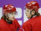 Ruští hokejisté Viktor Tichonov (vlevo) a Artěm Anisimov při tréninku národního týmu v Bolšoj Ice Dome aréně. (9. února 2014)