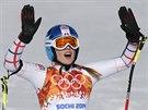 SPOKOJENÁ. Česká lyžařka Klára Křížová v cíli superobřího slalomu v areálu Rosa...