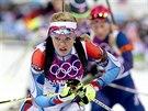 Biatlonistka Gabriela Soukalová v závodu na 12,5 kilometru s hromadným startem....