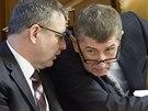 Ministr zahraničí Lubomír Zaorálek a ministr financí Andrej Babiš při jednání