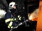 Požár hotelu na Revoluční ulici v Praze.