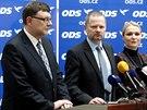 ��f poslanc� ODS Zbyn�k Stanjura, p�edseda strany Petr Fiala a poslankyn� Jana...
