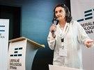 Herečka Eva Holubová na sněmu nové strany LES, do které se rozhodla vstoupit.