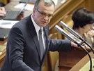 Miroslav Kalousek z TOP 09 při vystoupení ve Sněmovně v rozpravě o důvěře vládě.