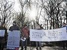 Protest proti por�ce �iraf�ho samce Mariuse p�ed koda�skou zoo