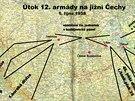 Schematická mapa znázorňující plánované útočné směry německých prvosledových divizí v prostoru jižních Čech. Jako podklad je použita německá přehledová mapa čs. opevnění v měřítku 1:300 000.