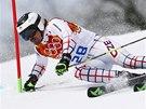 NA TRATI. Ondřej Bank v obřím slalomu na olympijských hrách v Soči.