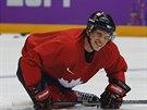 Kanadský útočník Sidney Crosby na tréninku v Soči.