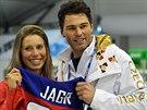 Vítězka snowboardcrossu Eva Samková se setkala  s hokejistou Jaromírem Jágrem,...