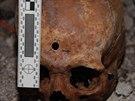 Druhá ze dvou lebek nalezených v pátek na Přerovsku ležela za dveřmi věžičky...