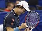 Japonský tenista Kei Nišikori se raduje z úspěšného úderu.