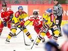 Momentka z prvoligového hokejového duelu České Budějovice vs. Olomouc (červená)