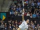 Tomáš Berdych ve finále tenisového turnaje v Rotterdamu proti Marinu Čiličovi.