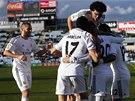 VEDEME! Fotbalisté Realu Madrid slaví gól na hřišti Getafe.