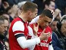 JSI PA��K! Lukas Podolski z Arsenalu (vlevo) gratuluje Alexovi