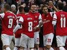 EUFORIE KANON�R�. Fotbalist� Arsenalu se raduj� z g�lu Alexe