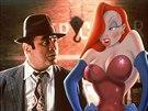 Bob Hoskins a animovaná postavička Jessica Rabbitová ve filmu Falešná hra s...