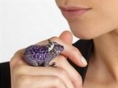 Prsten z bílého zlata s ametysty, diamanty a safíry, Lydia Courteille