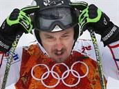 Český lyžař Ondřej Bank při tréninku sjezdu pro olympijskou superkombinaci....