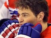 Jarom�r J�gr p�i spole�n�m focen� �esk� hokejov� reprezentace. (13. �nora 2014)