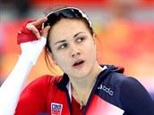 BEZ MEDAILE. �esk� rychlobrusla�ka Karol�na Erbanov� po olympijsk�m z�vodu na 1000 metr�. (13. �nora 2014)