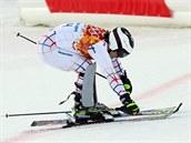 Český lyžař Ondřej Bank v cíli slalomové části olympijské superkombinace. (14....