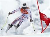 Český lyžař Ondřej Bank na trati olympijského superobřího slalomu. (16. února...