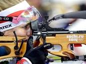 �esk� biatlonistka Gabriela Soukalov� p�i olympijsk�m z�vodu ve sm�en�...