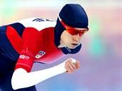 Česká rychlobruslařka Martina Sáblíková v olympijském závodu na 5000 metrů.