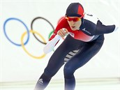 Česká rychlobruslařka Martina Sáblíková v olympijském závodu na 5000 metrů....