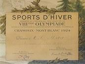 Diplom Františka Háka z Chamonix 1924 s podpisem zakladatele moderních...
