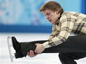 Tom� Verner b�hem kr�tk�ho programu na olympi�d� v So�i.