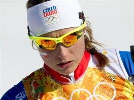 Česká běžkyně na lyžích Petra Nováková po štafetovém závodu na 4x5 kilometrů. (15. února 2014)