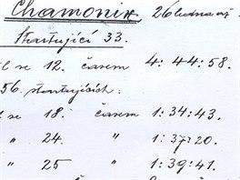 Záznam o účasti Františka Háka a dalších v Chamonix, zápis z kroniky obce a...