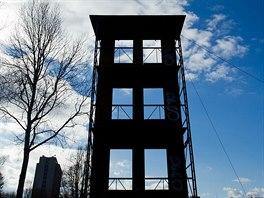 Cvičná věž na hasičském stadionu v Hradci Králové.
