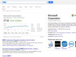 Anglický Google ukáže vývoj akcií (po zadání jejich burzovní zkratky).