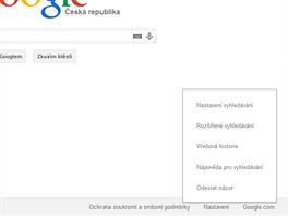 Roz���en� hled�n� najdete na domovsk� str�nce Google pod Nastaven�m.
