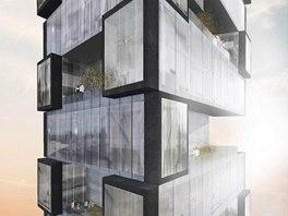 Vítězný projekt umístily autorky do vltavské nivy. Návrh tvoří architektonická