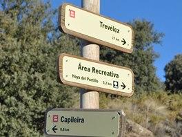 Turistické rozcestí nad Capileirou na stezce do Trevélezu
