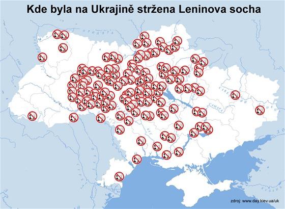 Kde byla na Ukrajině stržena Leninova socha