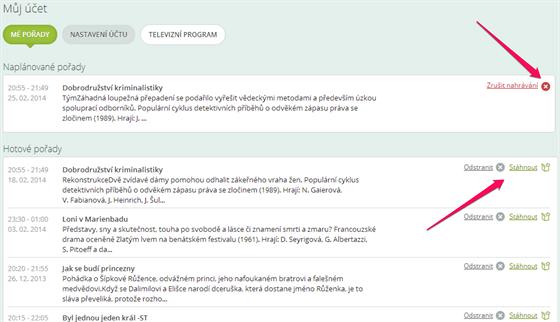 Grabuj.cz - seznam pořadů