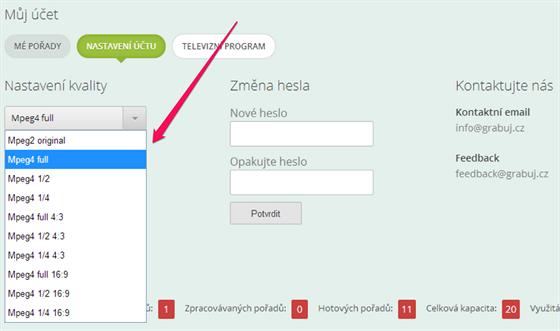 Grabuj.cz - nastavení kvality
