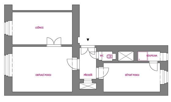 Stávající stav - kuchyň byla pravděpodobně v pokoji označeném jako dětský.
