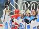 Hokejisté Plzn� se radují z gólu v extraligovém utkání proti Slavii.