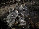 Ohořelé plynové masky v centru Kyjeva (24. února 2014)